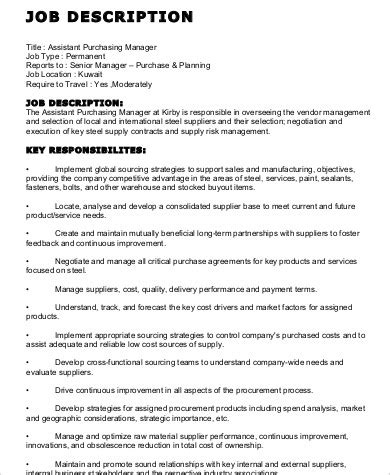 purchasing manager description resume manager duties