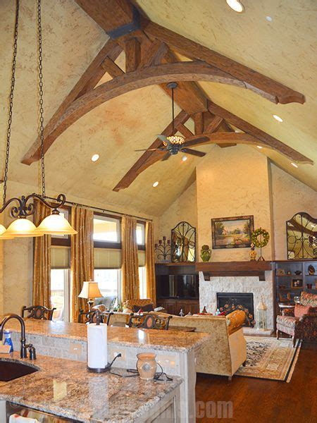 curved trusses   kitchen created  faux arched