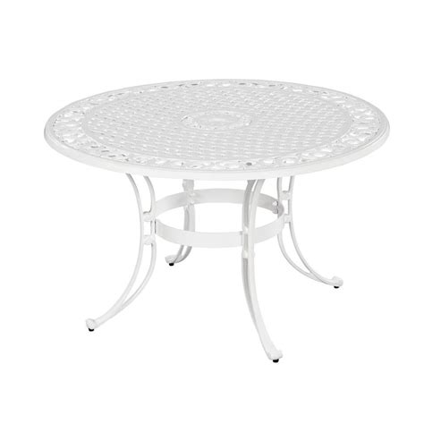white round outdoor table home styles biscayne 48 in white round patio dining table