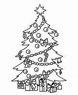 Coloring Tree Christmas Pages Printable Children Presents sketch template