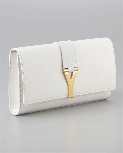 saint laurent cabas chyc clutch bag  white lyst