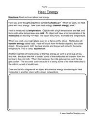 Science Worksheets Heat Energy