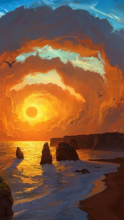 Landscape Sunset Fantasy Clouds Cliff Rocks Artwork