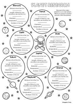 planet research worksheet earth space science