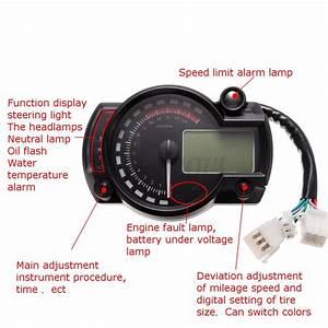 15000rpm Motorcycle Universal Lcd Digital Speedometer