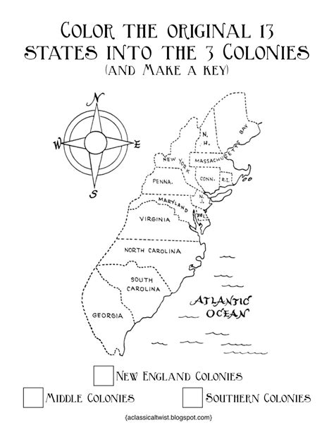 free coloring pages of blank 13 colonies