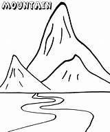 Mountain Coloring Landform Mountains Printable Template Coloringonly Templates Nature Colorings sketch template