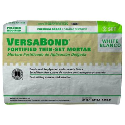 thin set mortar for porcelain tile custom building products versabond white 50 lb fortified