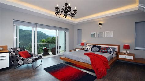 Red And Grey Bedroom, Gray Master Bedroom With Red Accents