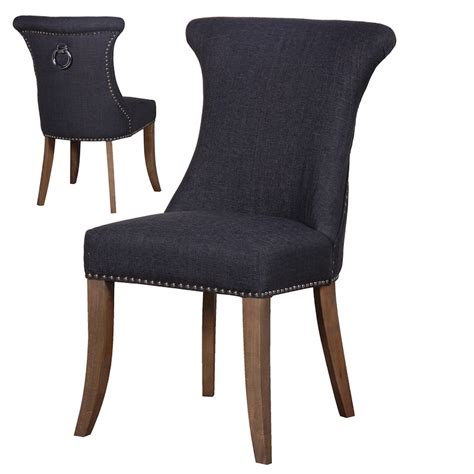 ring back studded grey dining chair