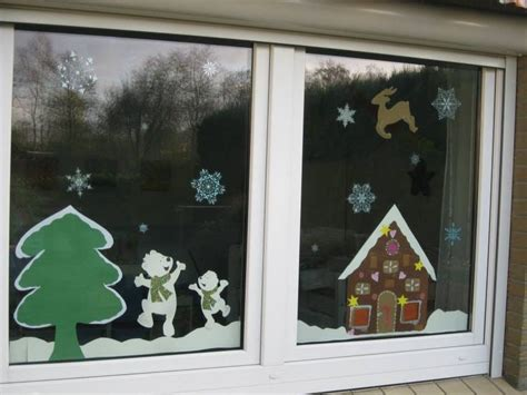 kids paper window decoration gingerbread house