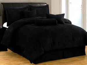 new bed in a bag solid black suede comforter set twin full queen king cal king ebay