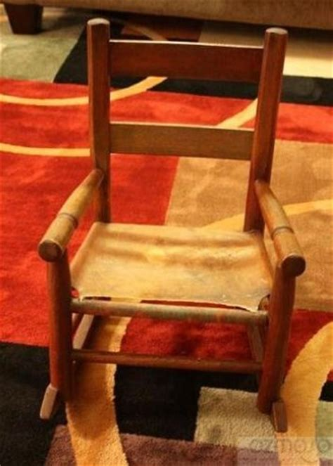 Cowhide Rocking Chair - antique original child s wood primitive cowhide leather
