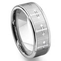 mens tungsten wedding band tungsten carbide 39 s wedding band ring with cross design