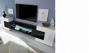 Meuble Tv Blanc Laqué : meuble tv moderne laqu blanc et noir trivia 3 ~ Teatrodelosmanantiales.com Idées de Décoration