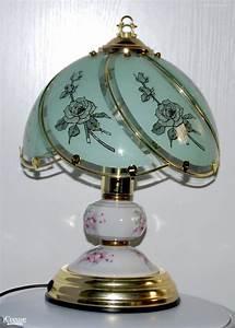 Lampe tactile en porcelaine et verre (s'allume au toucher ...