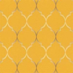 Rasch Wallpaper Sight Seeing Trellis Mustard 701630