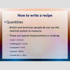 How To Write A Recipe