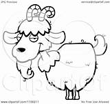 Goat Cartoon Horns Beard Clipart Coloring Vector Outlined Thoman Cory Without Regarding Notes sketch template