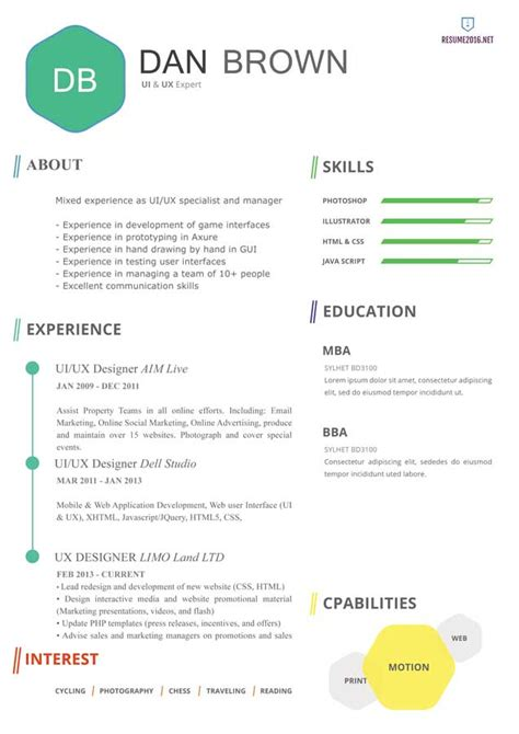 Resume Template 2016 by 20 Awesome Resume Templates 2016 Get Employed Today