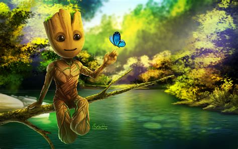 Baby Groot Artwork, Full Hd 2k Wallpaper