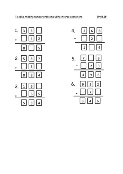 year 3 missing number problems by rachel0704 teaching resources