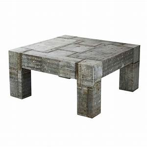gun metal grey zinc slab coffee table With heavy wood coffee table