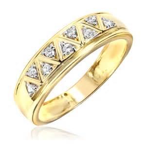 mens 10k gold wedding bands 1 5 carat t w 39 s wedding ring 10k yellow gold my trio rings bt137y10km