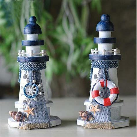 nautical decor wooden crafted lighthouse light tower starfish shell lifebouy e ebay