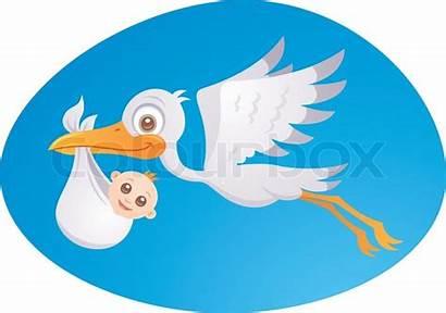 Stork Cartoon Delivery Newborn Delivering Illustration Vector