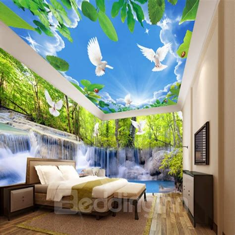 creative waterfall   forest  blue sky pattern