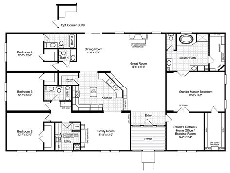 a floor plan of your house the hacienda iii 41764a manufactured home floor plan or