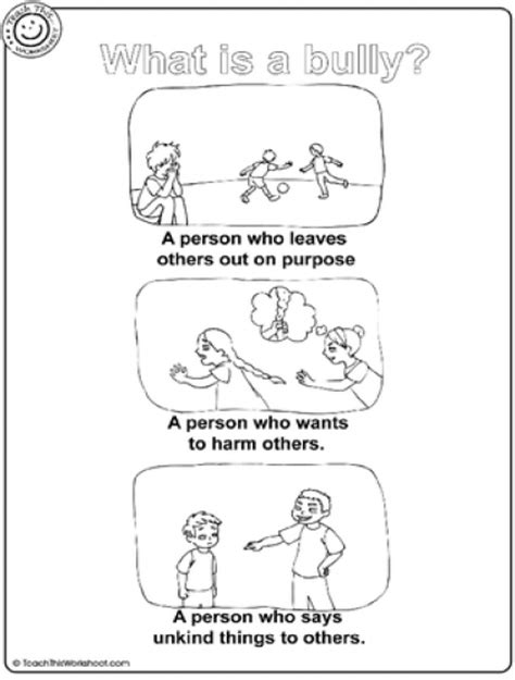 free bullying worksheets for elementary students bully