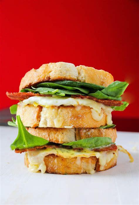 bacon breakfast sandwich layers  happiness