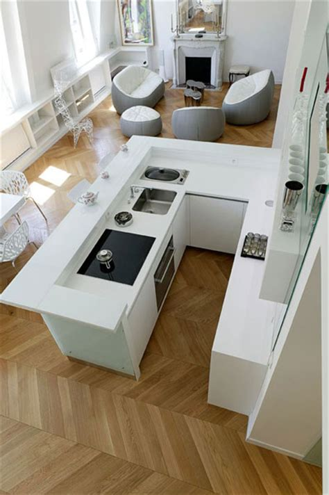 cuisine moderne en u cuisine lineaquattro en verre blanc