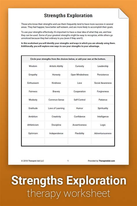 strengths exploration worksheet therapist aid