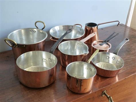 cuisine antique small batterie de la cuisine of re tinned copper pans and