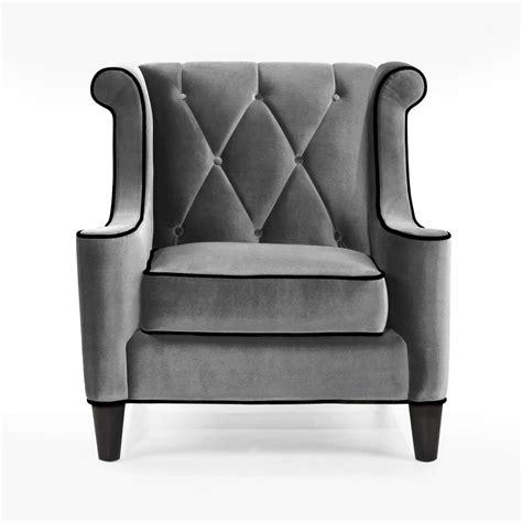 Armen Living Barrister Chair by Armen Living Barrister Chair Gray Velvet Black Piping Al