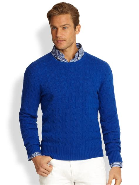 blue sweater polo ralph cableknit sweater in blue for