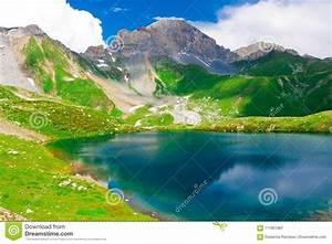 Lake, Mountain, Summer, Sunny, Day, Green, Grass, Stock, Image
