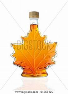 Leaf Shaped Canadian Glass Maple Syrup Bottle Isolated On ...