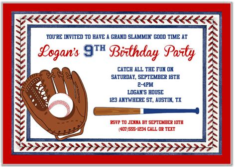 baseball invitation baseball birthday invitations baseball sports birthday