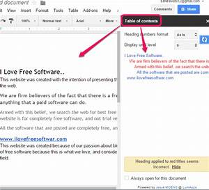 how to create table of contents for google docs documents With google documents table of contents