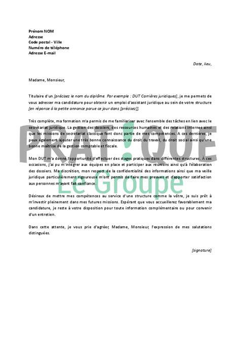 lettre de motivation secretaire juridique lettre de motivation pour un emploi d assistant juridique d 233 butant pratique fr
