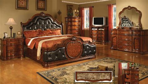antique style cherry finish classic bedroom woptional