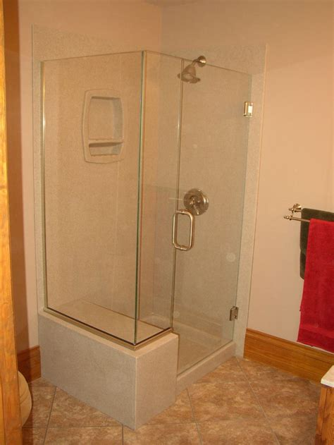 Bathroom Showers by Onyx Shower With Glass Surround And Glass Hinged Door