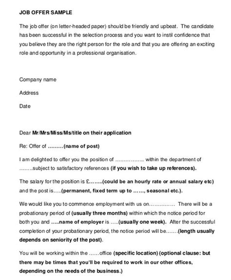 business offer letter template   word  format