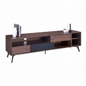 Meuble Tv 180 Cm : meuble tv design fuzz 180cm noyer noir ~ Teatrodelosmanantiales.com Idées de Décoration