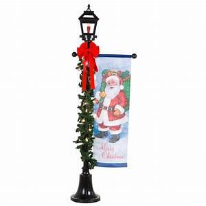 Lamp, Post, W, Pre-lit, Garland, Black, W, Santa, Banner, 6, Ft, -, Seasonal, -, Christmas