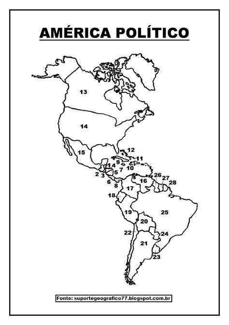 Suporte Geográfico: AMÉRICA MAPAS PARA COLORIR